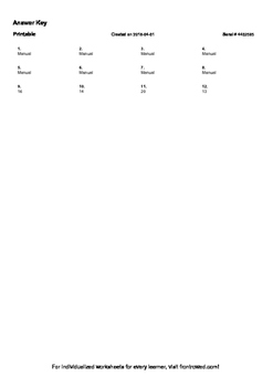Worksheet for K.CC.3-2.2 - Write the number that corresponds to the word
