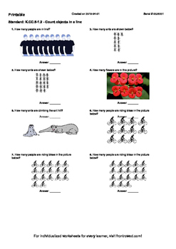 Worksheet for K.CC.5-1.2 - Count objects in a line