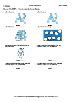 Worksheet for K.CC.5-1.4 - Count randomly placed objects