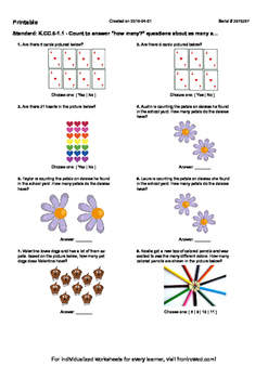 """Worksheet for K.CC.6-1.1 - Count to answer """"how many"""" ques"""