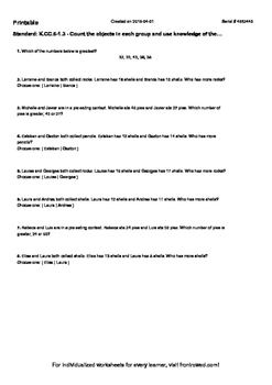 Worksheet for K.CC.6-1.3 - Count the objects in each group and use knowledge of