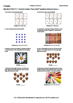 """Worksheet for K.CC.7-1.1 - Count to answer """"how many"""" questions about as many a…"""