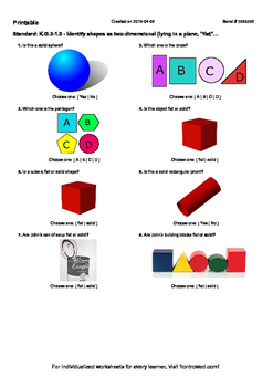 Worksheet for K.G.3-1.0 - Identify shapes as two-dimensional (lying in a plane,