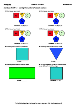 Worksheet for K.G.4-1.1 - Identify the number of sides in a shape