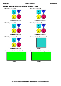 Worksheet for K.G.4-1.2 - Identify the number of corners in a shape