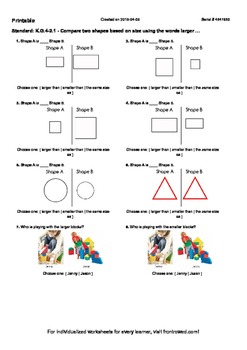Worksheet for K.G.4-2.1 - Compare two shapes based on size using the words larg