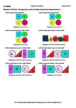 Worksheet for K.G.4-2.2 - Compare the number of sides and corners shapes have by