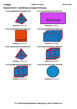 Worksheet for K.G.4-3.1 - Identify faces and edges of 3-D shapes