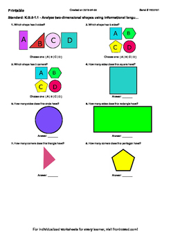 Worksheet for K.G.5-1.1 - Analyze two-dimensional shapes using informational lan