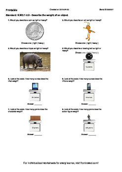 Worksheet for K.MD.1-3.0 - Describe the weight of an object