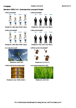Worksheet for K.MD.1-4.3 - Understand the concept of height