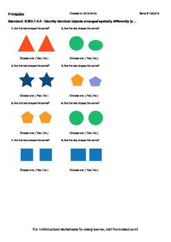 Worksheet for K.MD.1-4.4 - Identify identical objects arranged spatially differ
