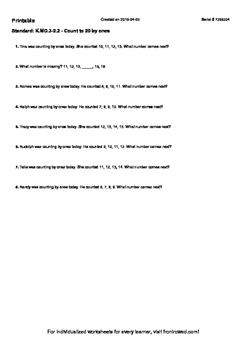 Worksheet for K.MD.3-2.2 - Count to 20 by ones