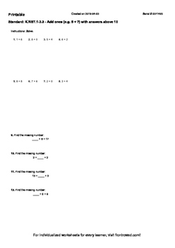 Worksheet for K.NBT.1-3.3 - Add ones (e.g. 5 + 7) with answers above 10