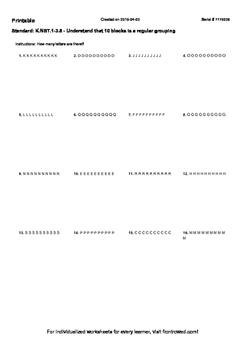 Worksheet for K.NBT.1-3.5 - Understand that 10 blocks is a