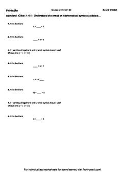 Worksheet for K.NBT.1-4.1 - Understand the effect of mathematical symbols (add