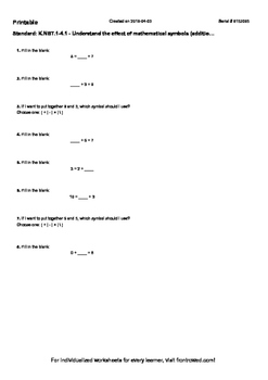 Worksheet for K.NBT.1-4.1 - Understand the effect of mathe