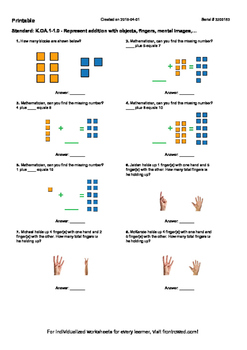 Worksheet for K.OA.1-1.0 - Represent addition with objects, fingers, mental imag