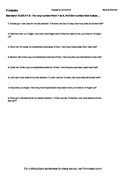 Worksheet for K.OA.4-1.0 - For any number from 1 to 9, fin