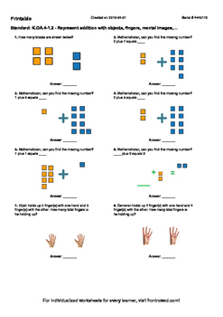 Worksheet for K.OA.4-1.2 - Represent addition with objects, fingers, mental imag