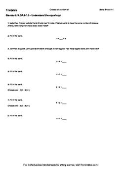 Worksheet for K.OA.5-1.3 - Understand the equal sign