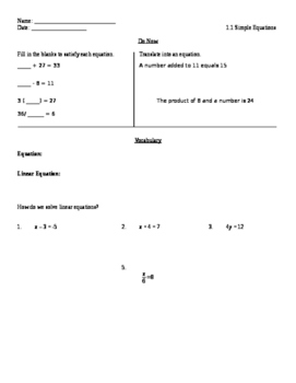 Worksheet for Lesson 1.1 solving One step Equations