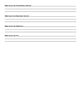 Worksheet for Puns/Spoonerisms/Apostrophes/Personification
