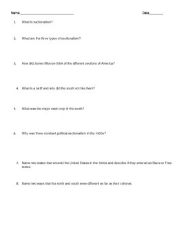 Worksheet for Sectionalism in the United States