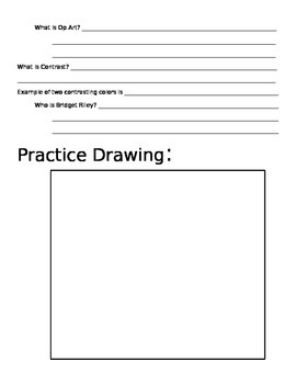 Worksheet for Shape and Form and Op Art Power Point