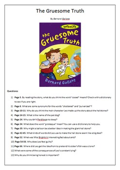 Worksheet for The Gruesome Truth by Bernard Gallate