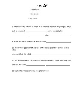 """Worksheet for """"Traveling Waves- Crash Course Physics #17"""" video 9-12 PS4-1 Math"""