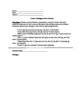 Worksheet for Writing Dialogue with Humorous Example