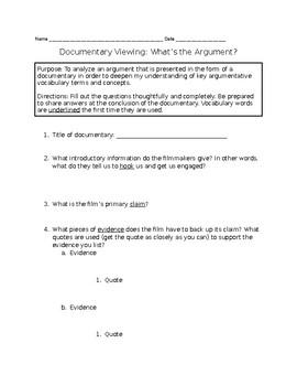 Worksheet for any documentary