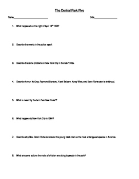 Worksheet for the documentary The Central Park Five