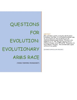 Worksheet for the video Evolution: Evolutionary Arms Race