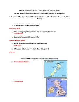 Worksheet on Differences between UK England and British Isles