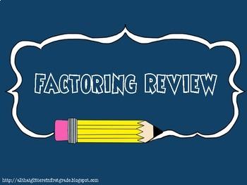 Worksheet on Factoring