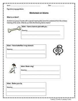 Worksheet on Idioms