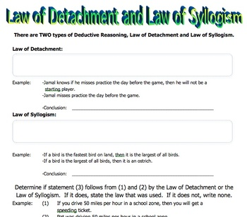 Worksheet on Law of Detachment and Law of Syllogism