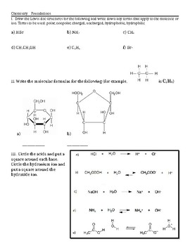 Worksheet on Lewis Dot Structures, Identifying Acids/Bases, Buffers, and Water