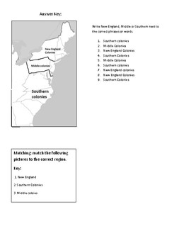 Worksheet over the 3 colonial regions with activities