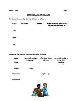 Worksheet-phases of matter