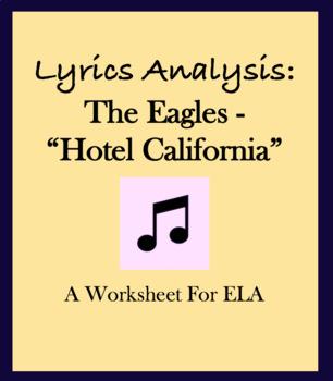 "Worksheet questions Eagles ""Hotel California"" lyric analysis"