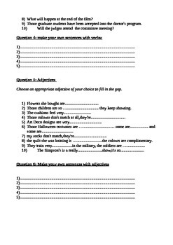 Worksheet/test for adjectives,nouns and verbs