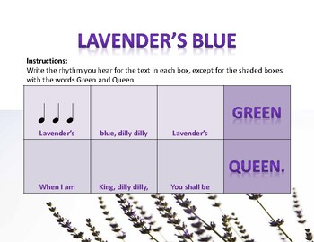 Worksheet to Prep and Practice 3/4 and Dotted Half Note with Lavender's Blue