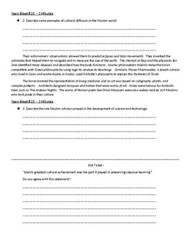 Worksheet to accompany Global Aim # 21 What are some major Arabic contributions