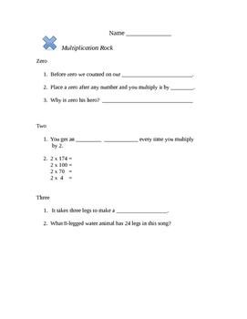 Worksheet to accompany School House Rock's Multiplication Rock