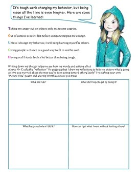 Worksheet to accompany Tough by Erin Frankel a story about stopping bullying