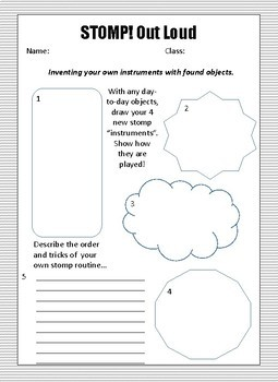 Worksheet to go along with Stomp! Out Loud