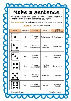 Worksheet to revise present simple and continuous